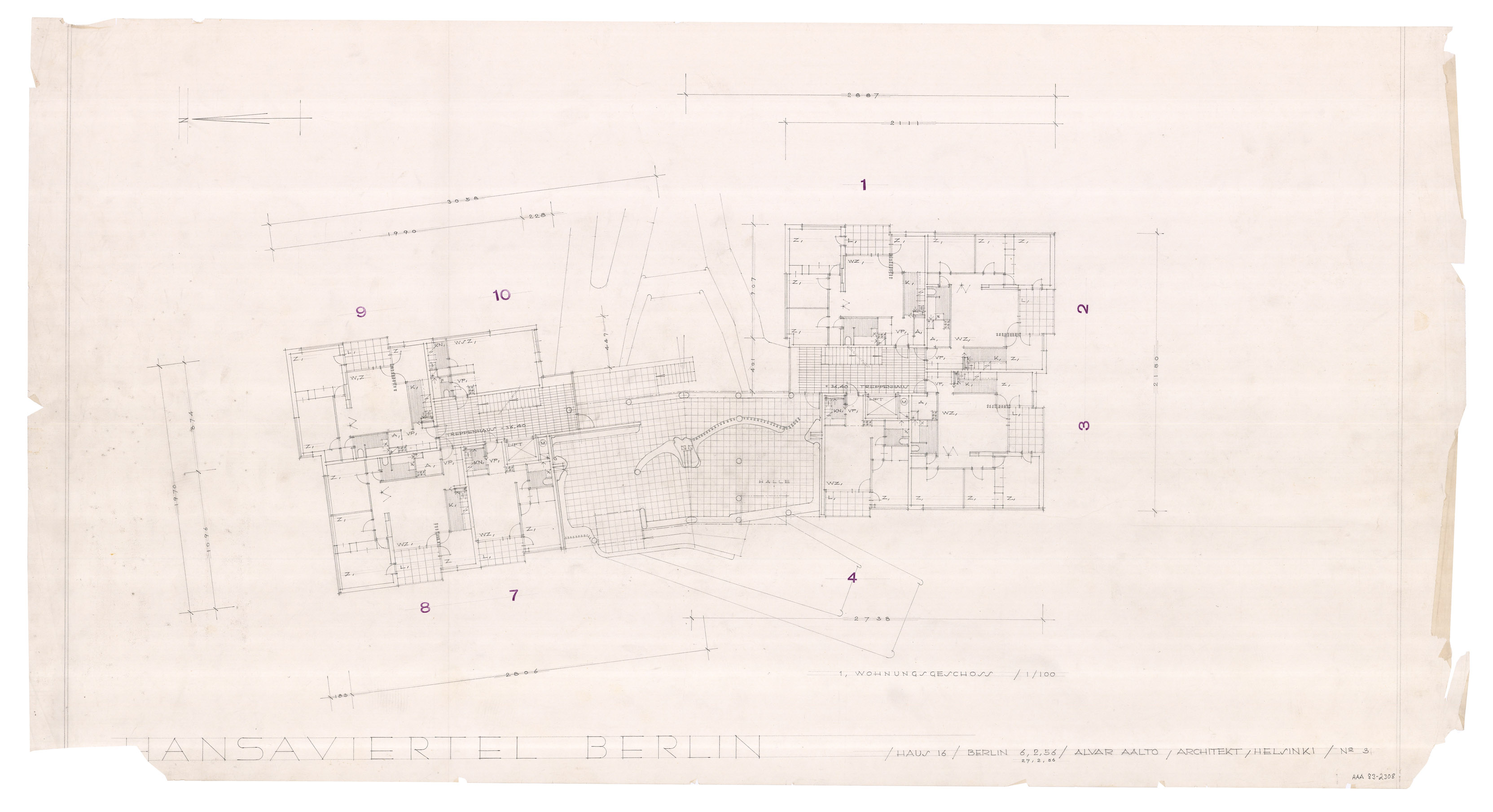 architectural drawings of the hansaviertel apartment house - Alvar Aalto House Plans