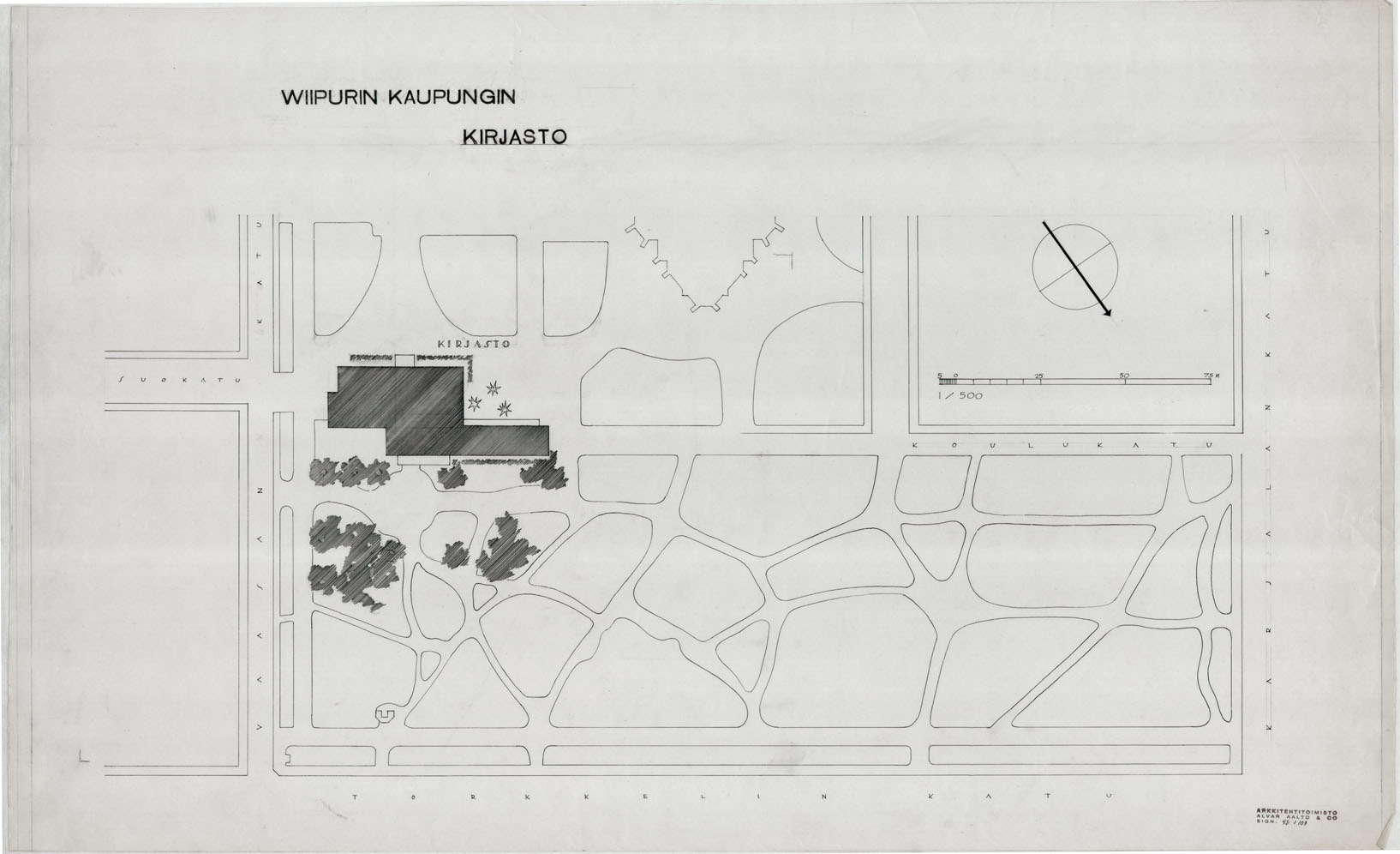 Architectural drawings of the vyborg library alvar aalto for Site plan drawing online